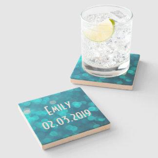 Elegant Bokeh Blue Turquoise Circles Pattern Stone Beverage Coaster