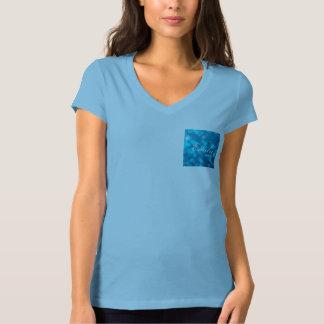 Elegant Bokeh Blue Turquoise Circles Pattern T-Shirt