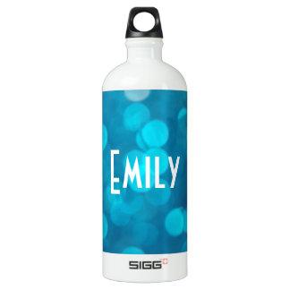 Elegant Bokeh Blue Turquoise Circles Pattern Water Bottle