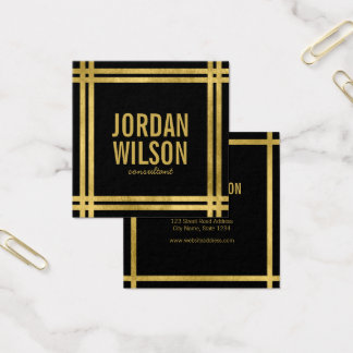 Elegant Bold Borders Black Faux Gold Square Business Card