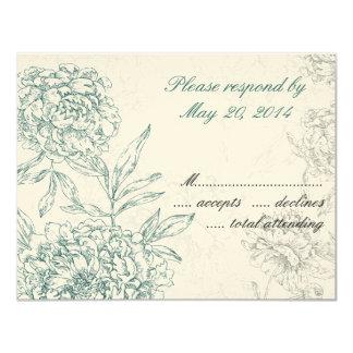 Elegant Botanical Wedding RSVP Cards Jade Cream