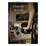 Elegant Bouquet Maid of Honour Sister Request Card