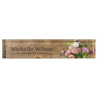 Elegant Bouquet & Wood Wedding Planner Nameplate