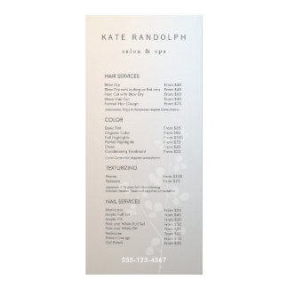 Elegant Branch Salon Price List Service Menu Rack Card Design