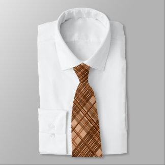 Elegant brawn plaid tie