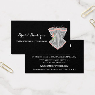 Elegant Bridal Boutique Vintage Corset Lingerie Business Card