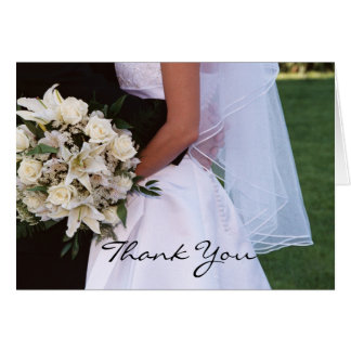 Elegant Bridal Couple & Roses Thank You Card