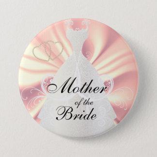 Elegant Bridal Dress on Rose Satin 7.5 Cm Round Badge
