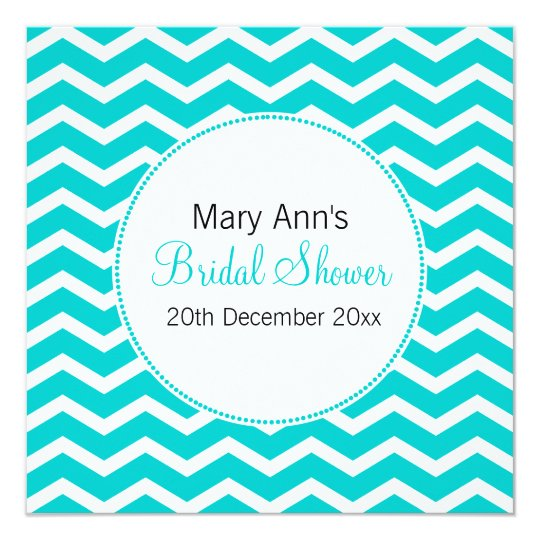 Elegant Bridal Shower Blue Chevron Pattern Card