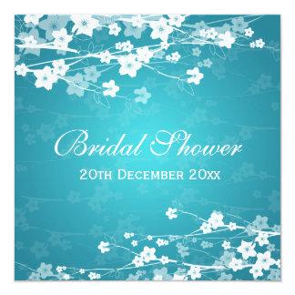 Elegant Bridal Shower Cherry Blossom Blue 13 Cm X 13 Cm Square Invitation Card
