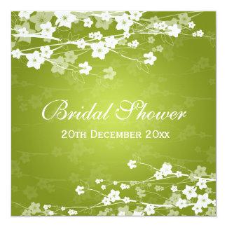 Elegant Bridal Shower Cherry Blossom Lime Green 13 Cm X 13 Cm Square Invitation Card