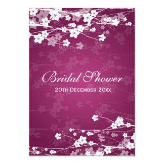 Elegant Bridal Shower Cherry Blossom Plum 13 Cm X 18 Cm Invitation Card