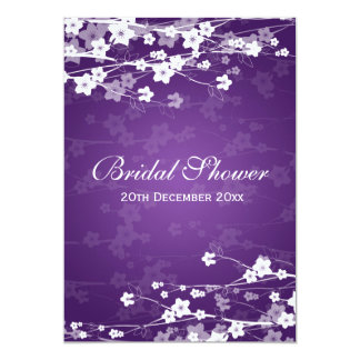Elegant Bridal Shower Cherry Blossom Purple 13 Cm X 18 Cm Invitation Card