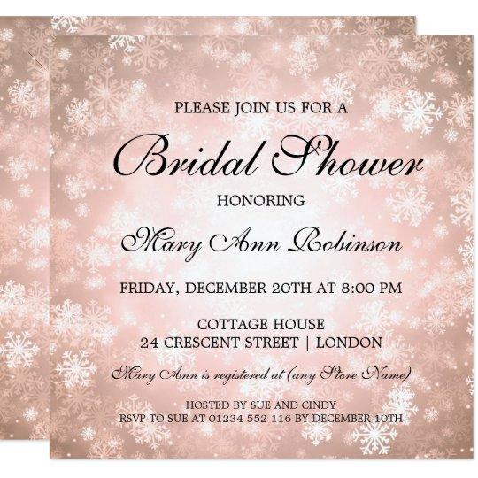 Elegant Bridal Shower Copper Winter Wonderland Card