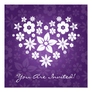 Elegant Bridal Shower Flowery Heart Purple Card