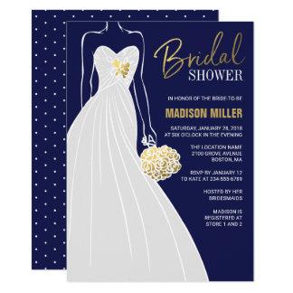 Elegant Bridal Shower Invitation   Blue and Gold