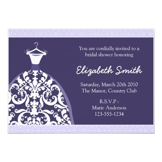 Elegant Bridal Shower Invitation (Purple)