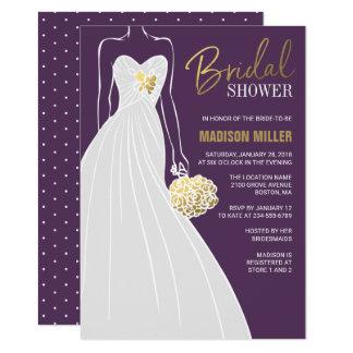 Elegant Bridal Shower Invitation   Purple and Gold