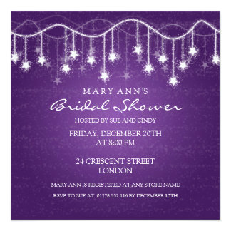 Elegant Bridal Shower Shimmering Stars Purple Card