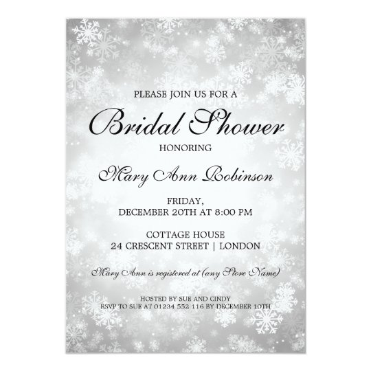 Elegant Bridal Shower Silver Winter Wonderland Card