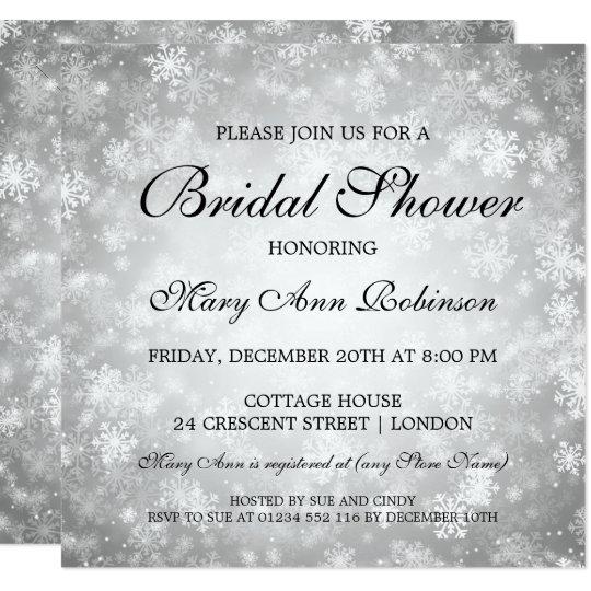 Elegant Bridal Shower Silver Winter Wonderland Card