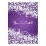 Elegant Bridal Shower Sparkling Wave Purple 13 Cm X 18 Cm Invitation Card