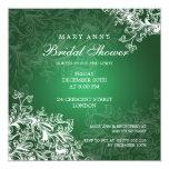 Elegant Bridal Shower Vintage Swirls Green Custom Invitations