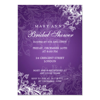 Elegant Bridal Shower Vintage Swirls Purple Card