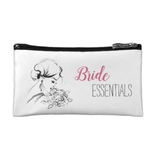 Elegant Bride Fashion Illustration Cosmetic Bag