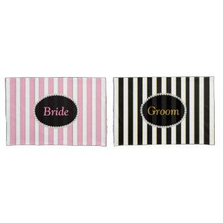 Elegant Bride & Groom Mix & Match Striped Pillowcase