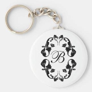 Elegant Bride Monogram Key Ring