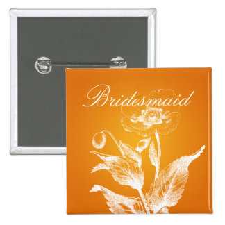 Elegant Bridesmaid Favor Poppy Orange 15 Cm Square Badge