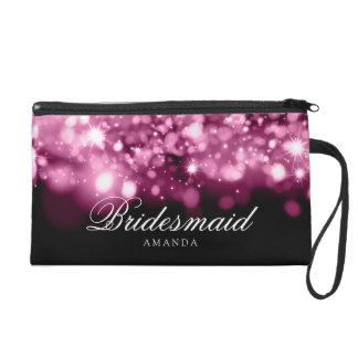 Elegant Bridesmaid Favor Sparkling Lights Pink Wristlet Purses