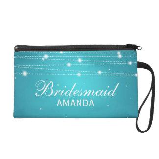 Elegant Bridesmaid Favor Sparkling Lines Turquoise Wristlet