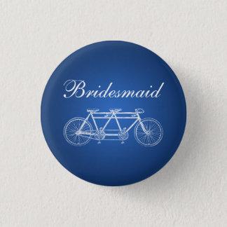 Elegant Bridesmaid Favor Tandem Bike Blue 3 Cm Round Badge