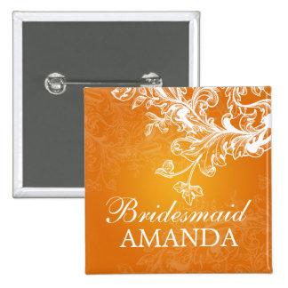 Elegant Bridesmaid Favor Vintage Swirls Orange 15 Cm Square Badge