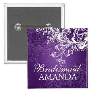 Elegant Bridesmaid Favor Vintage Swirls Purple 15 Cm Square Badge