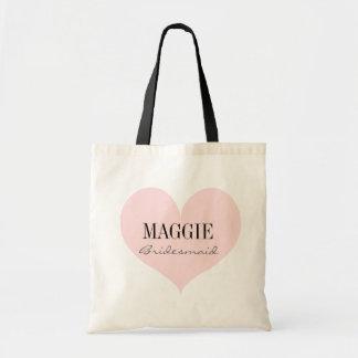 Elegant Bridesmaid pink heart personalized Tote Bag