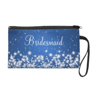 Elegant Bridesmaid Winter Sparkle Blue Wristlet Purses