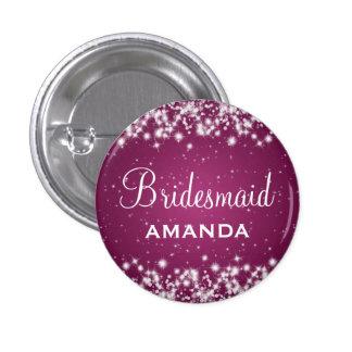 Elegant Bridesmaid Winter Sparkle Pink 3 Cm Round Badge