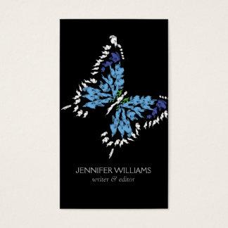 ELEGANT BRIGHT BLUE BUTTERFLY LOGO on BLACK Business Card