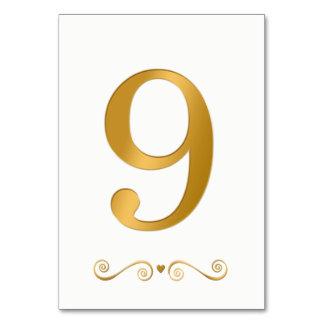 Elegant Bright Gold Faux Metalic Number 9 Card