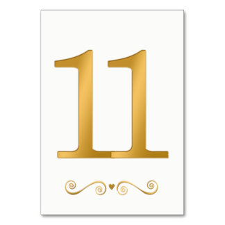 Elegant Bright Gold Faux Metallic Number 11 Card