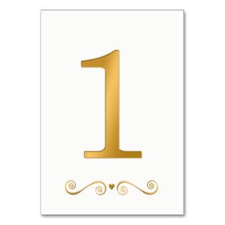 Elegant Bright Gold Faux Metallic Number 1 Card