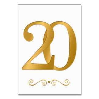 Elegant Bright Gold Faux Metallic Number 20 Card