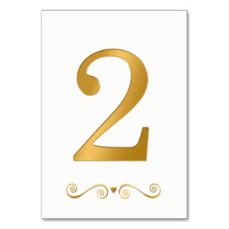 Elegant Bright Gold Faux Metallic Number 2 Card