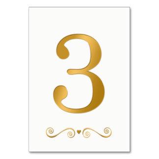 Elegant Bright Gold Faux Metallic Number 3 Card
