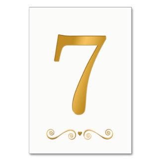 Elegant Bright Gold Faux Metallic Number 7 Card