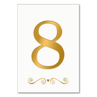 Elegant Bright Gold Faux Metallic Number 8 Card