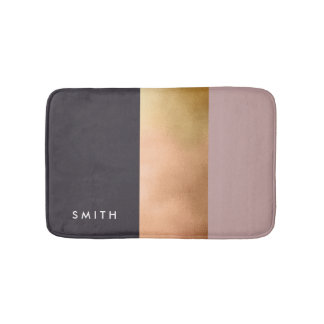 elegant bright rose gold pink grey color block bath mat